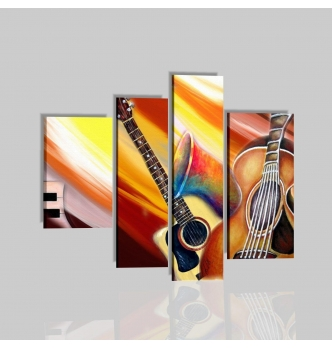VIVA LA MUSICA - Dipinto moderno con chitarra