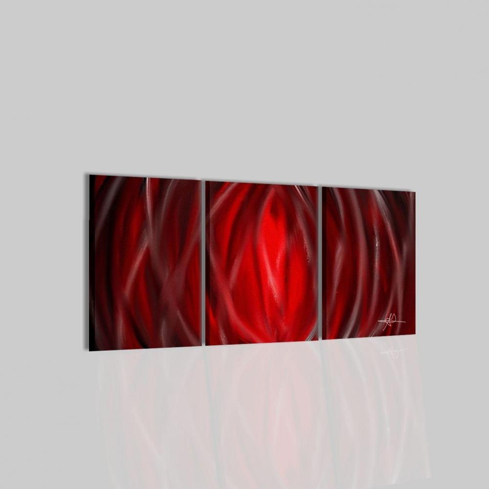 Trittico di quadri astratti in rosso for Quadri trittici moderni