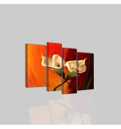 AMATA - Quadro moderno arancione con fiore