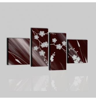 NADIE - Quadri astratti con fiori marrone e grigio