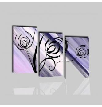PRAIA - Quadri trittici moderni viola