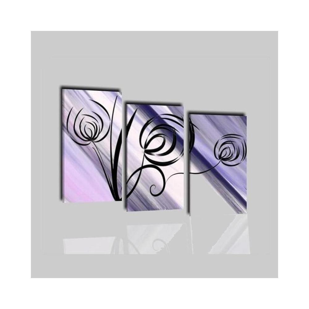 Quadri astratti colorati in viola con fiori stilizzati - Praia