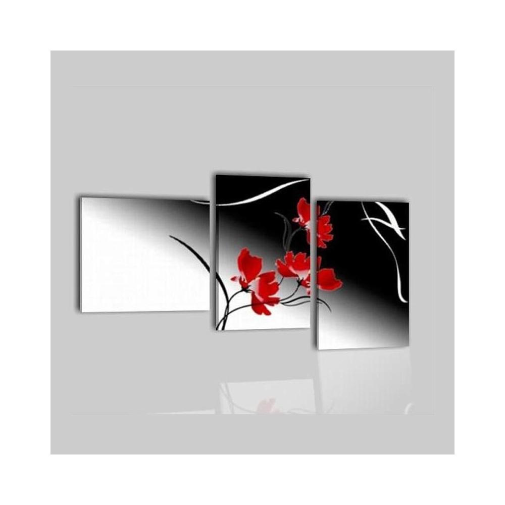 Quadri moderni dipinti a mano su tela fiori bianco nero for Dipinti a mano moderni