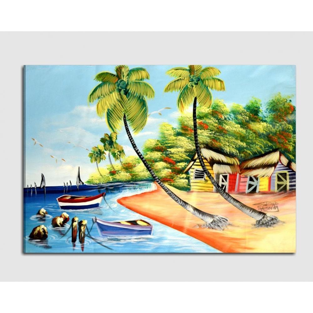 Quadro moderno dipinto a mano spiaggia e mare for Quadri dipinti a mano paesaggi