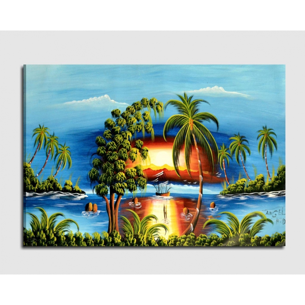 Quadro dipinto a mano spiaggia caraibica for Quadri dipinti a mano paesaggi