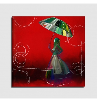 Quadro moderno donna sotto la pioggia - JANE