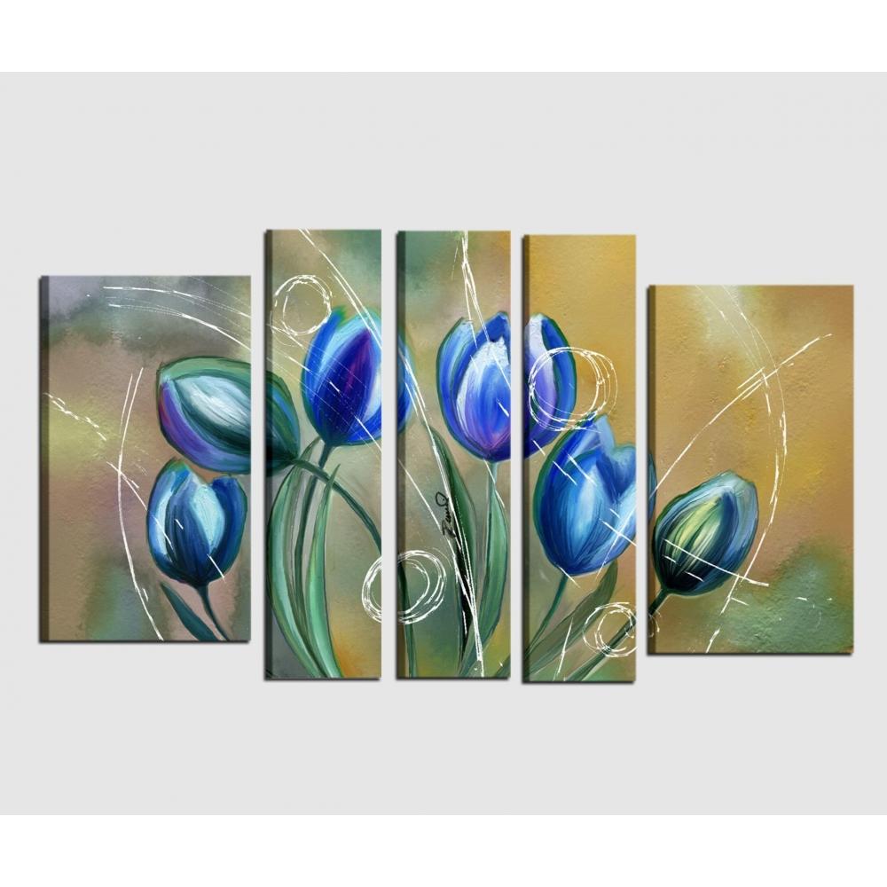 Quadri moderni dipinti a mano con fiori blu -INCANTO