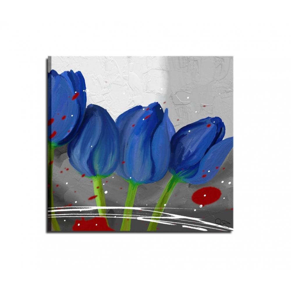 Quadri moderni con fiori azzurro grigio - Alissa