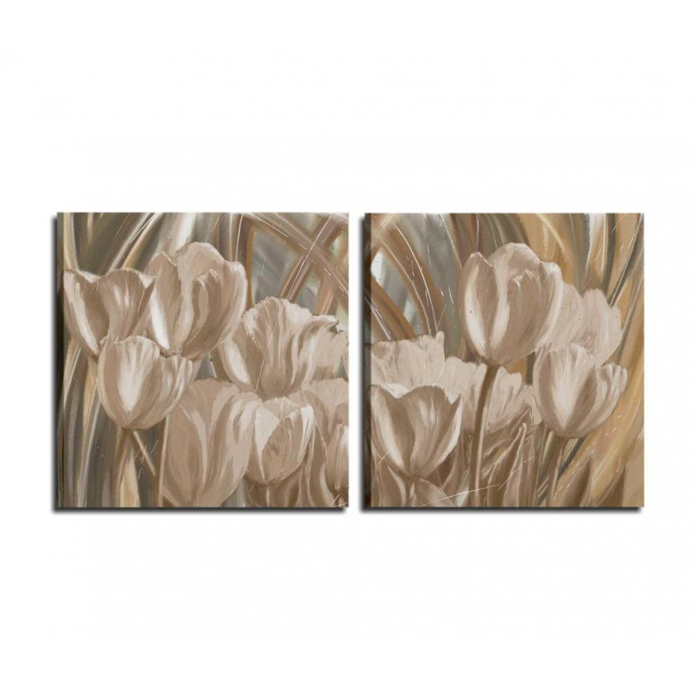 Favolosa composizione di due quadri che rappresentano dei tulipani ...