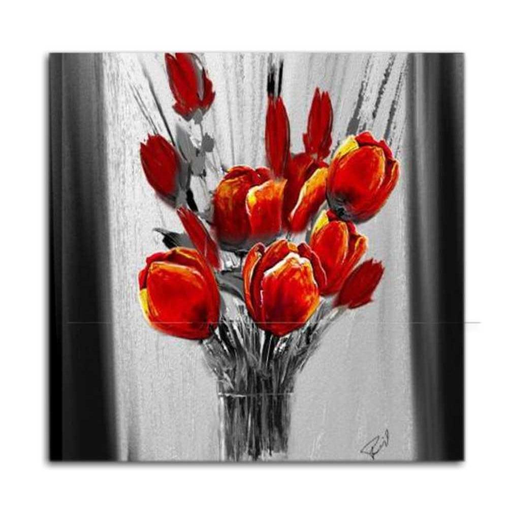 Quadro moderno dipinto a mano con raffigurazione di un for Immagini di quadri con fiori