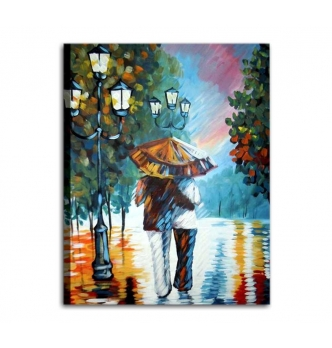 SOTTO LA PIOGGIA - Dipinto con coppia sotto la pioggia