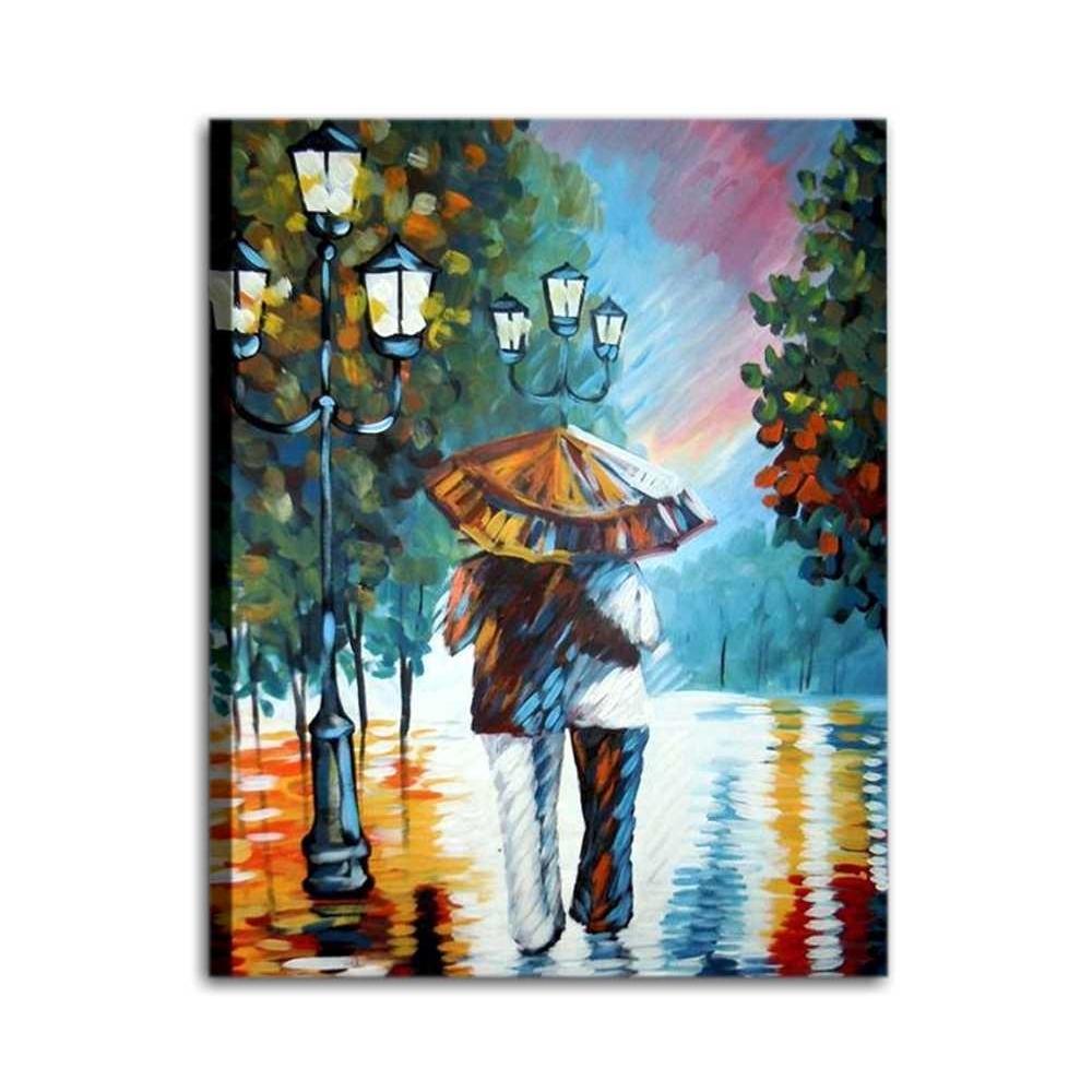 Quadro dipinto a mano coppia sotto la pioggia for Quadri moderni in offerta
