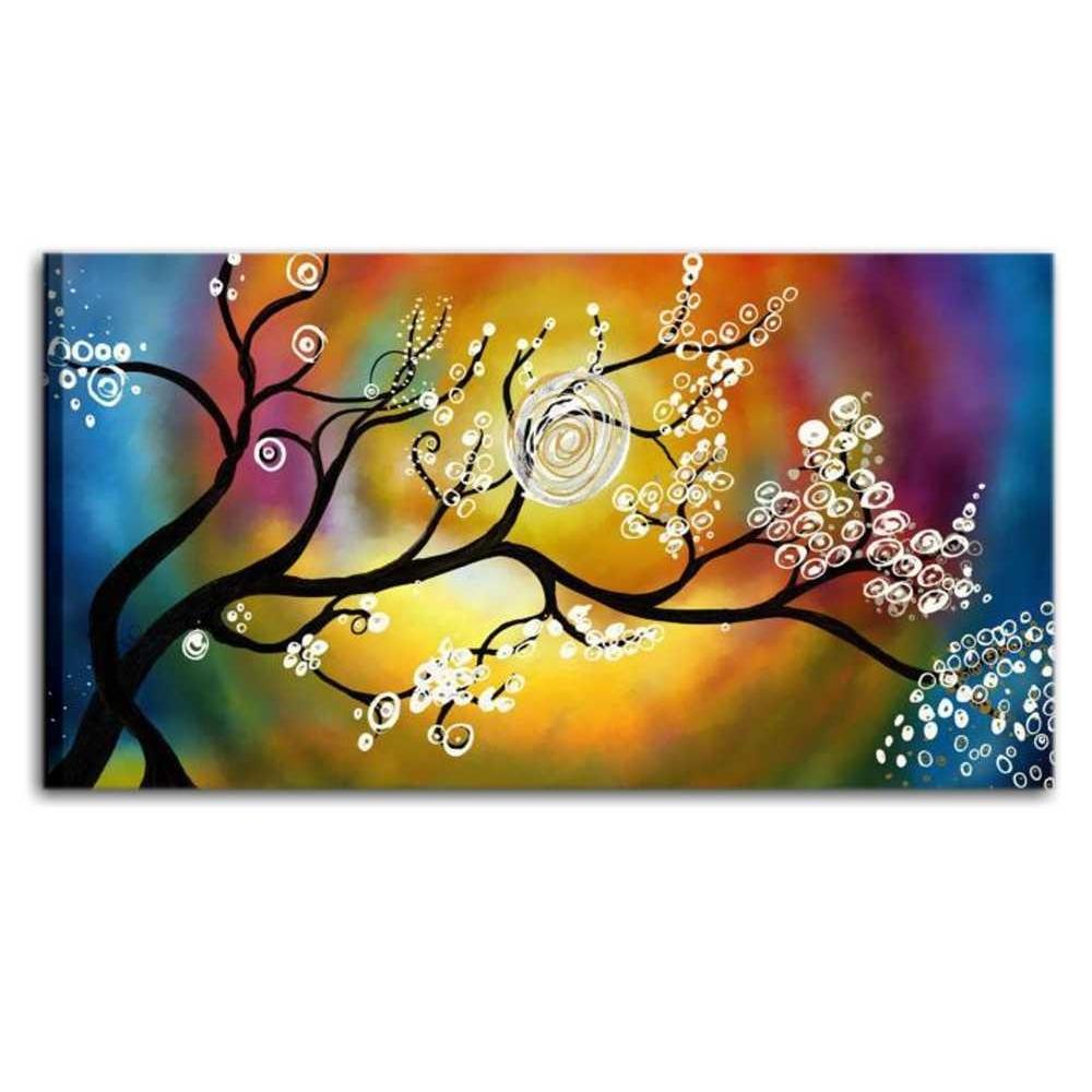 Quadro moderno con albero su fondo colorato - Denis