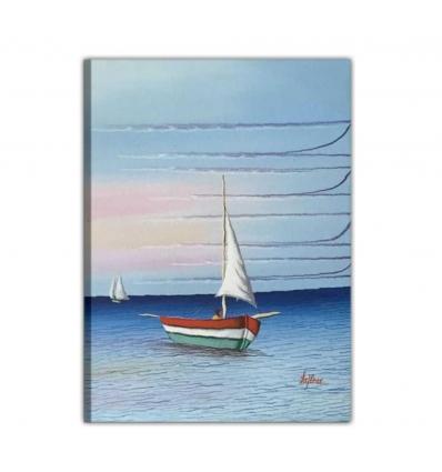 Quadro moderno dipinto a mano- barca in mezzo al mare