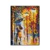 RAIN 4 - Quadro moderno dipinto a mano fidanzati con ombrello sotto la pioggia