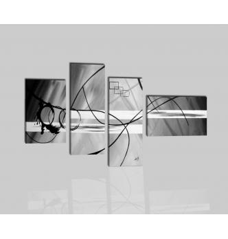 PINGES - Dipinti astratti grigio e nero
