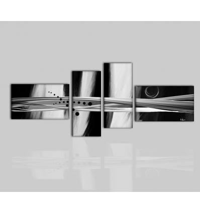 MURIEL - Dipinto astratto in bianco grigio e nero