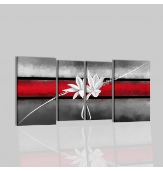 VALDA - Cuadros modernos rojo y gris con flore