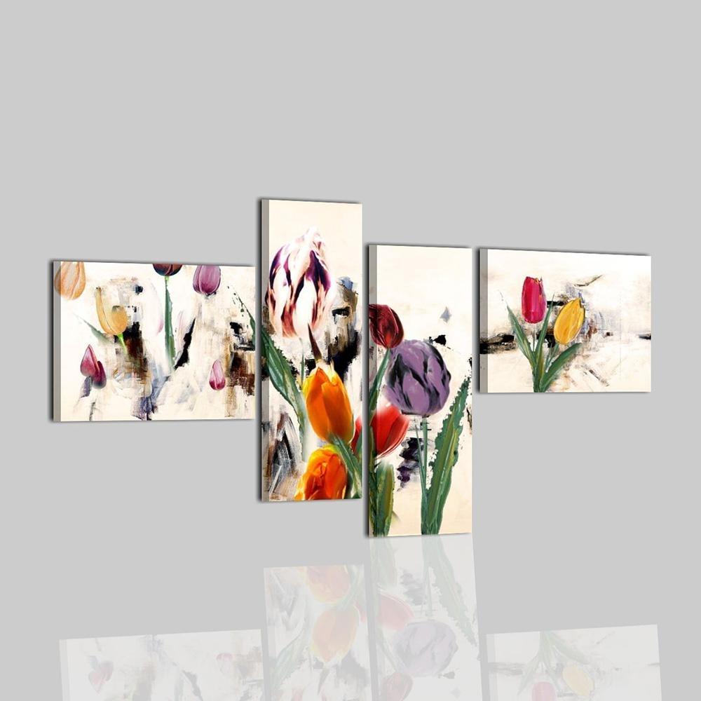 Soggiorno Marrone Bianco : Quadri moderni dipinti a mano su tela con fiori cobay