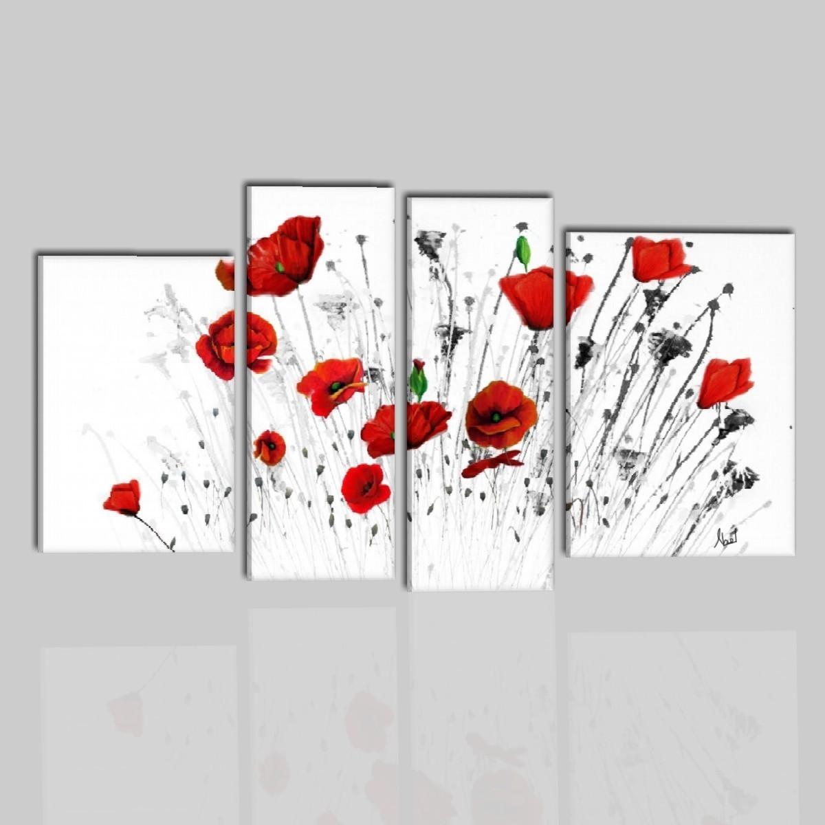 Quadri con fiori con papaveri rossi nicos for Quadri astratti rossi