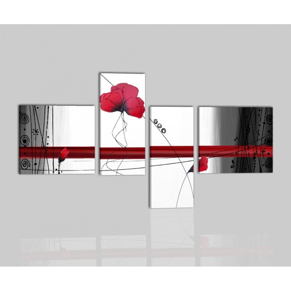 Quadri moderni con fiori dipinti a mano colori principali for Quadri astratti moderni verticali