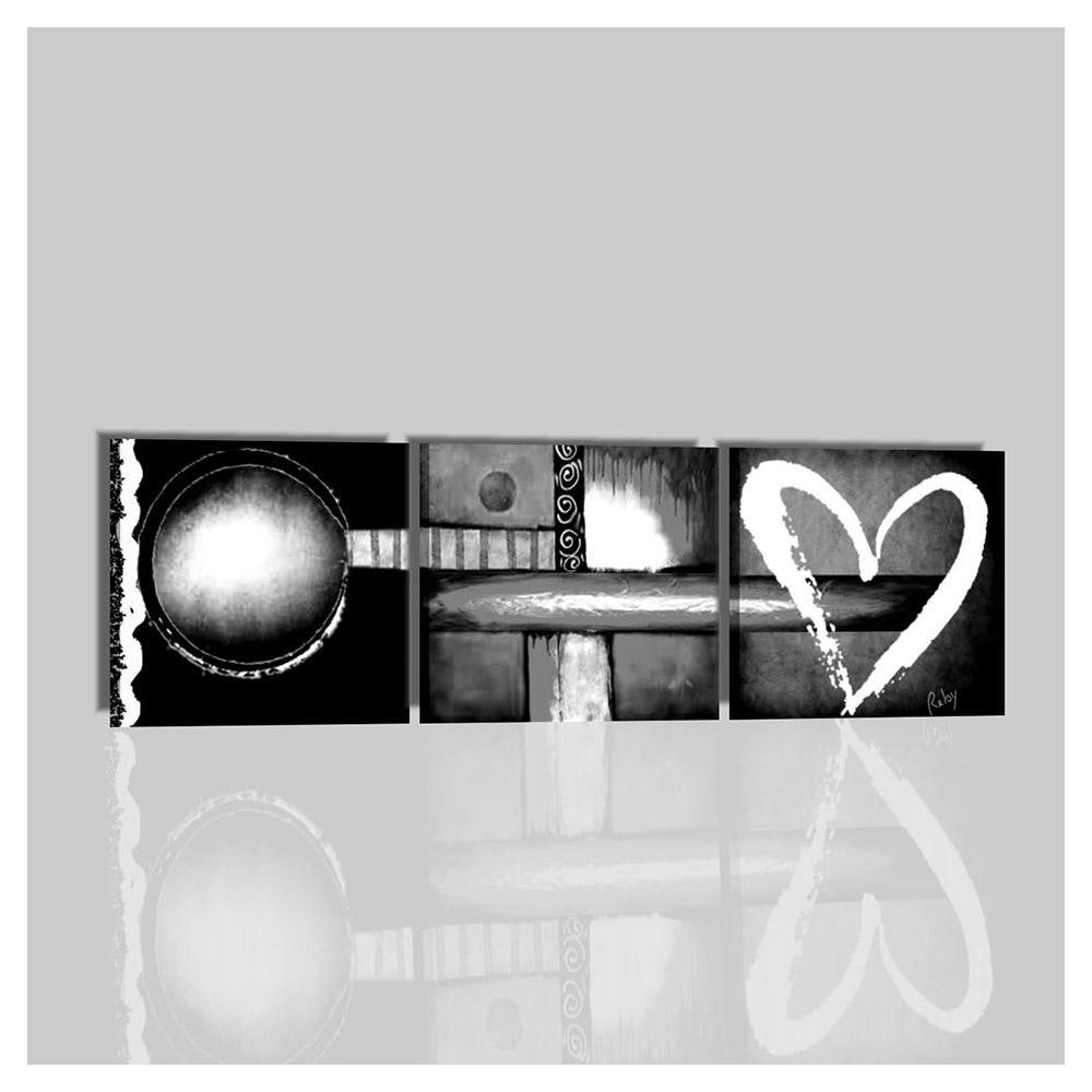 Quadri moderni dipinti a mano in bianco e nero con cuore love