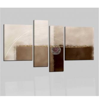 AMMONITE - Quadri astratti a pannelli color marrone