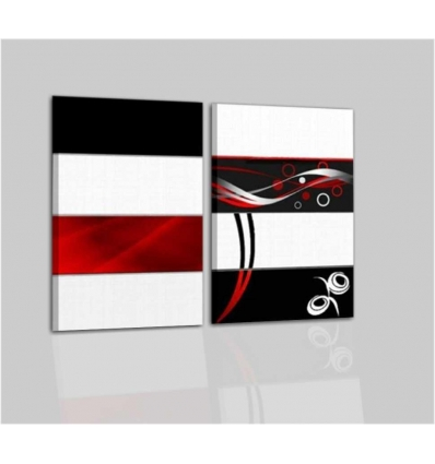 VALLEY - Modern painting white black and red