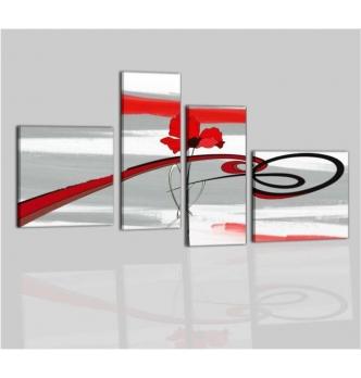 CORUS - Quadri moderni fiori grigio rosso