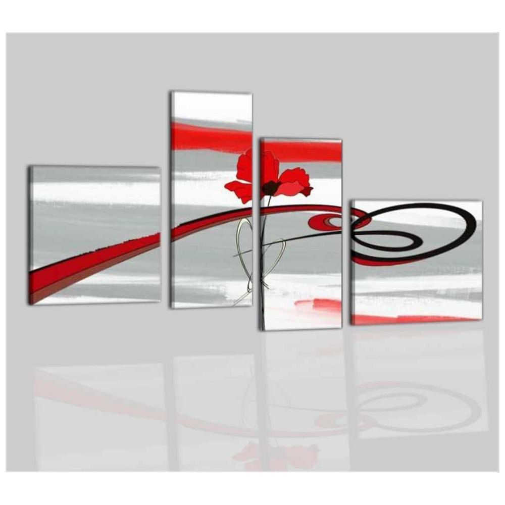 Quadri moderni a pannelli con fiore rosso corus for Quadri moderni in offerta