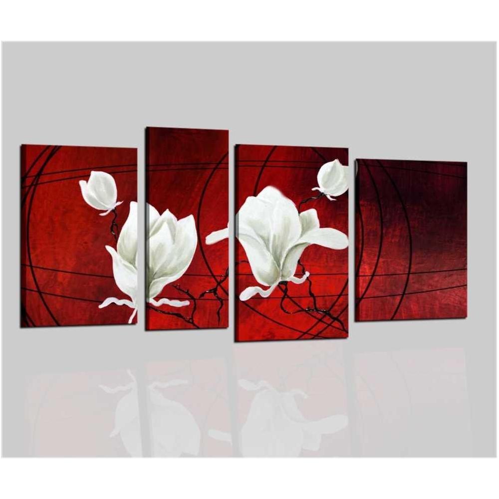 Quadri moderni astratti dipinti a mano olio su tela rosso for Quadri fiori olio