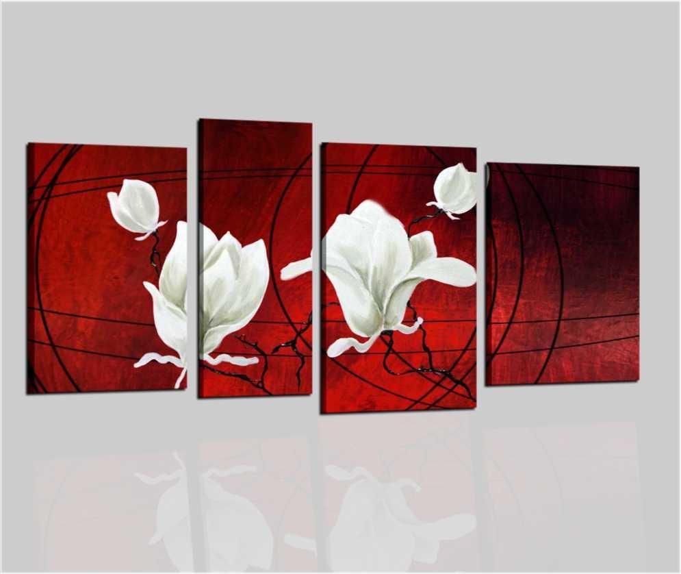Quadri moderni modulare con fiori rossi Ciprus
