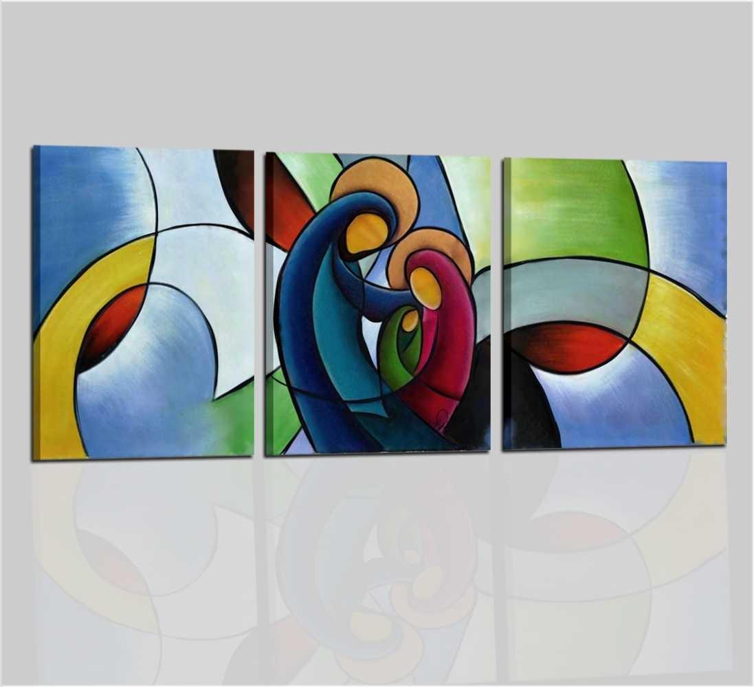 Quadri moderni capoletti dipinti a mano sacra famiglia for Quadri astratti immagini