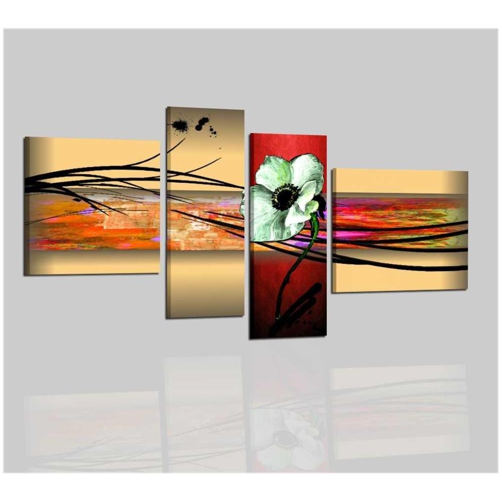 quadri moderni astratti dipinti a mano olio immagini fiori giallo beige rosso ebay