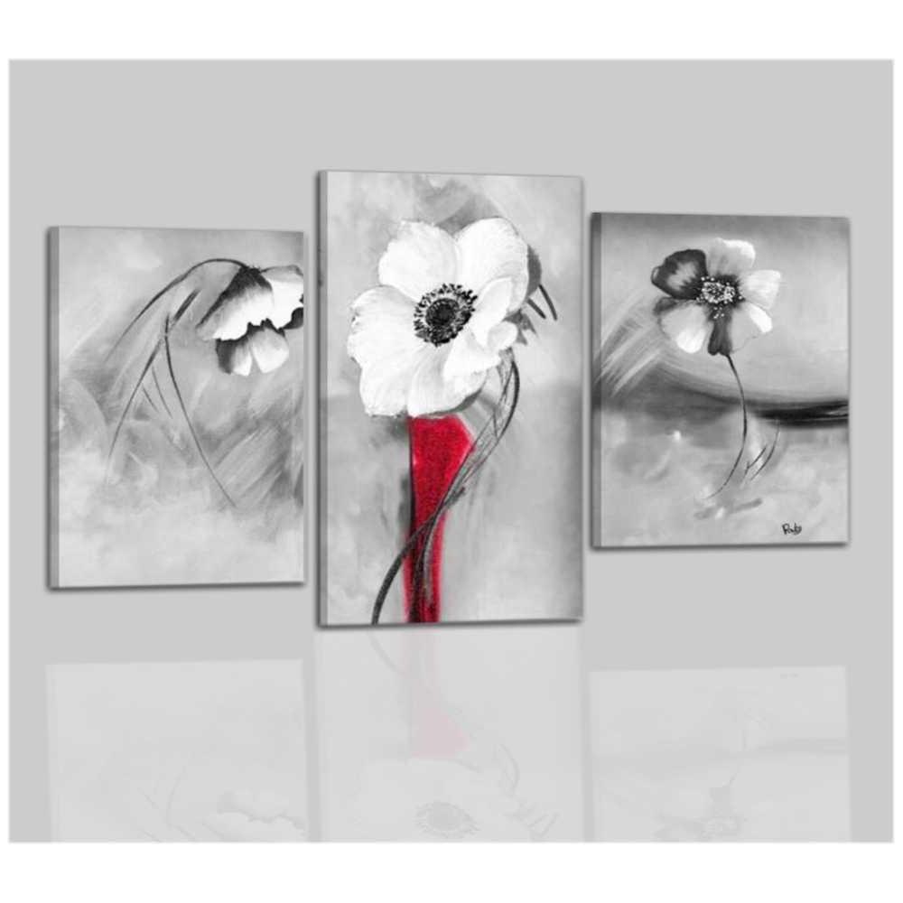 Quadri moderni con fiori - Bianco e nero - Elba