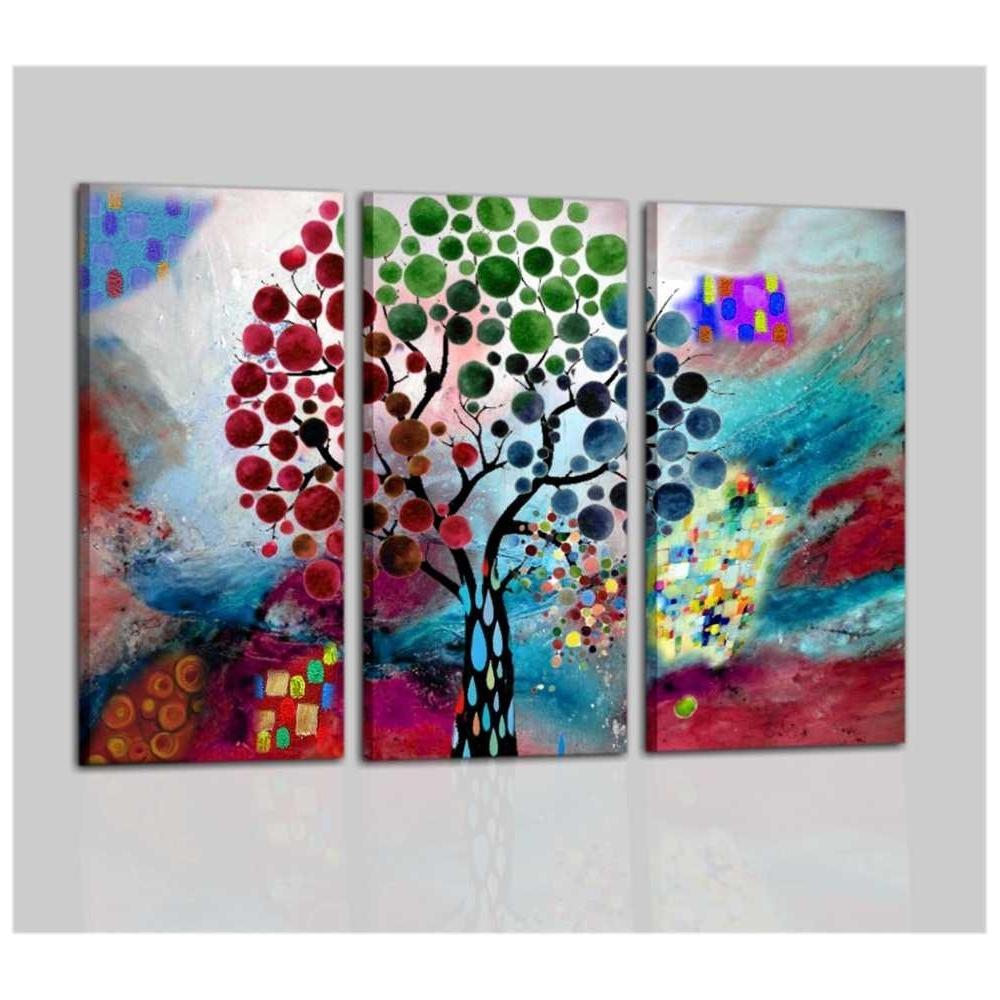 Trittico di quadri moderni colorati