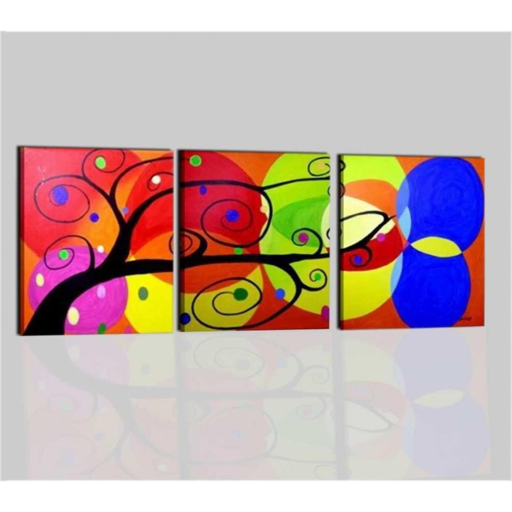 Quadri astratti trittici albero dei colori for Quadri verticali astratti