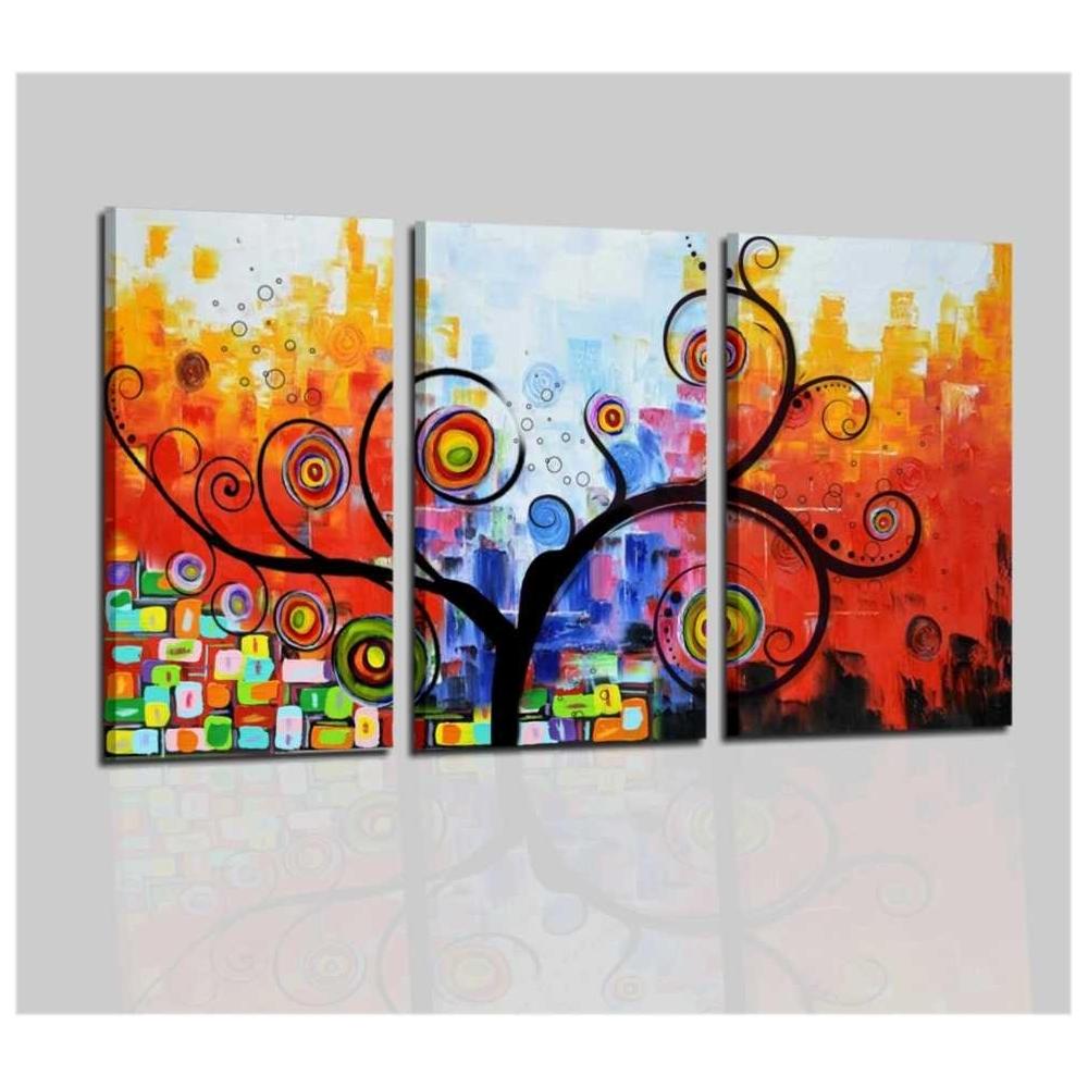 Trittico di quadri moderni dipinti a mano pronti da appendere - Tarot