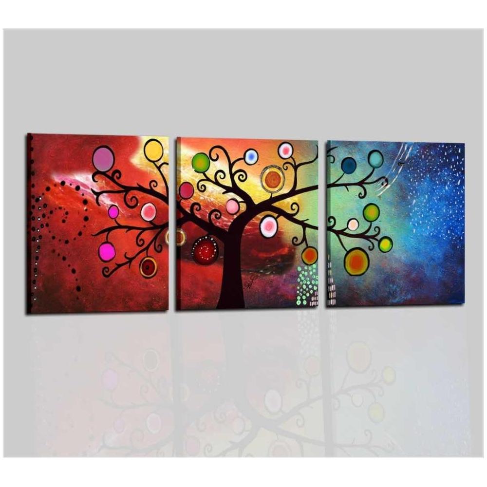 Quadro trittico colorato for Tele astratte dipinte a mano