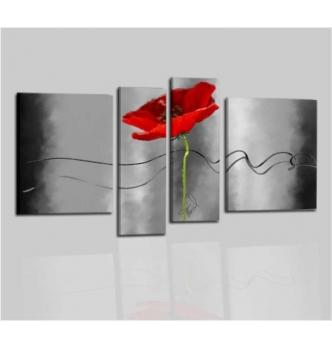 ODARA - Cuadros gris y rojo con flores