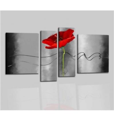 ODARA - Quadri astratti moderni grigio con fiore rosso