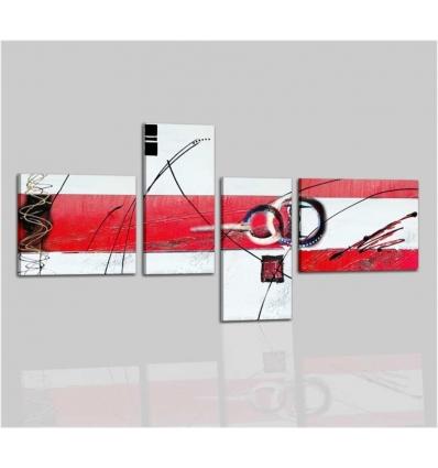 VENTO - Quadri astratti  su tela bianco e rosso
