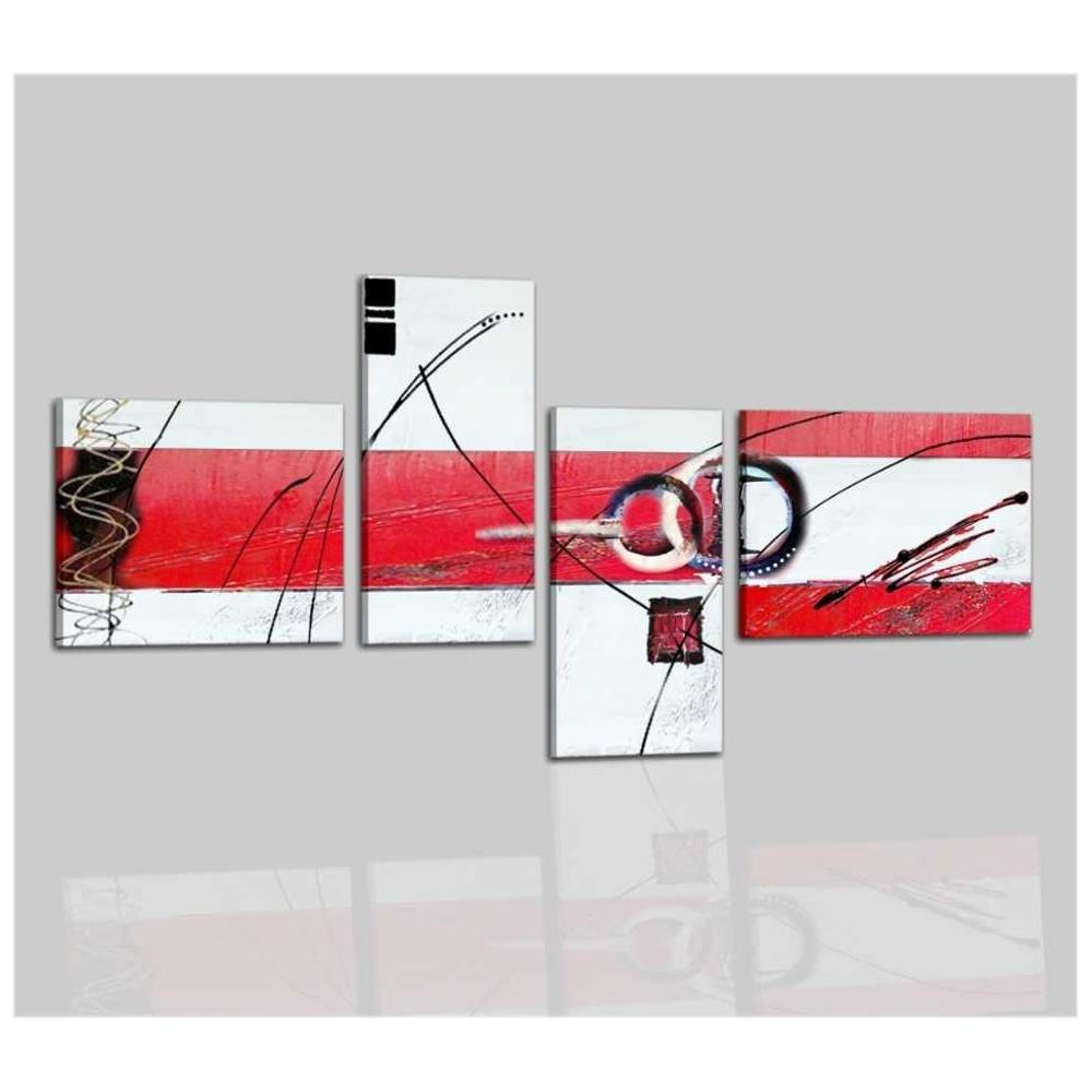 Cuadros abstractos blanco y rojo vento for Cuadros abstractos baratos