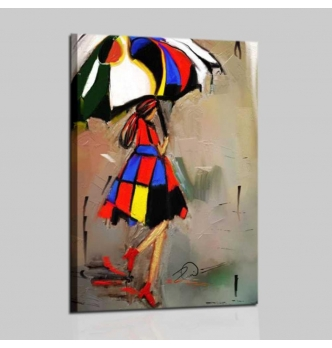 Modern painting -  woman with umbrella