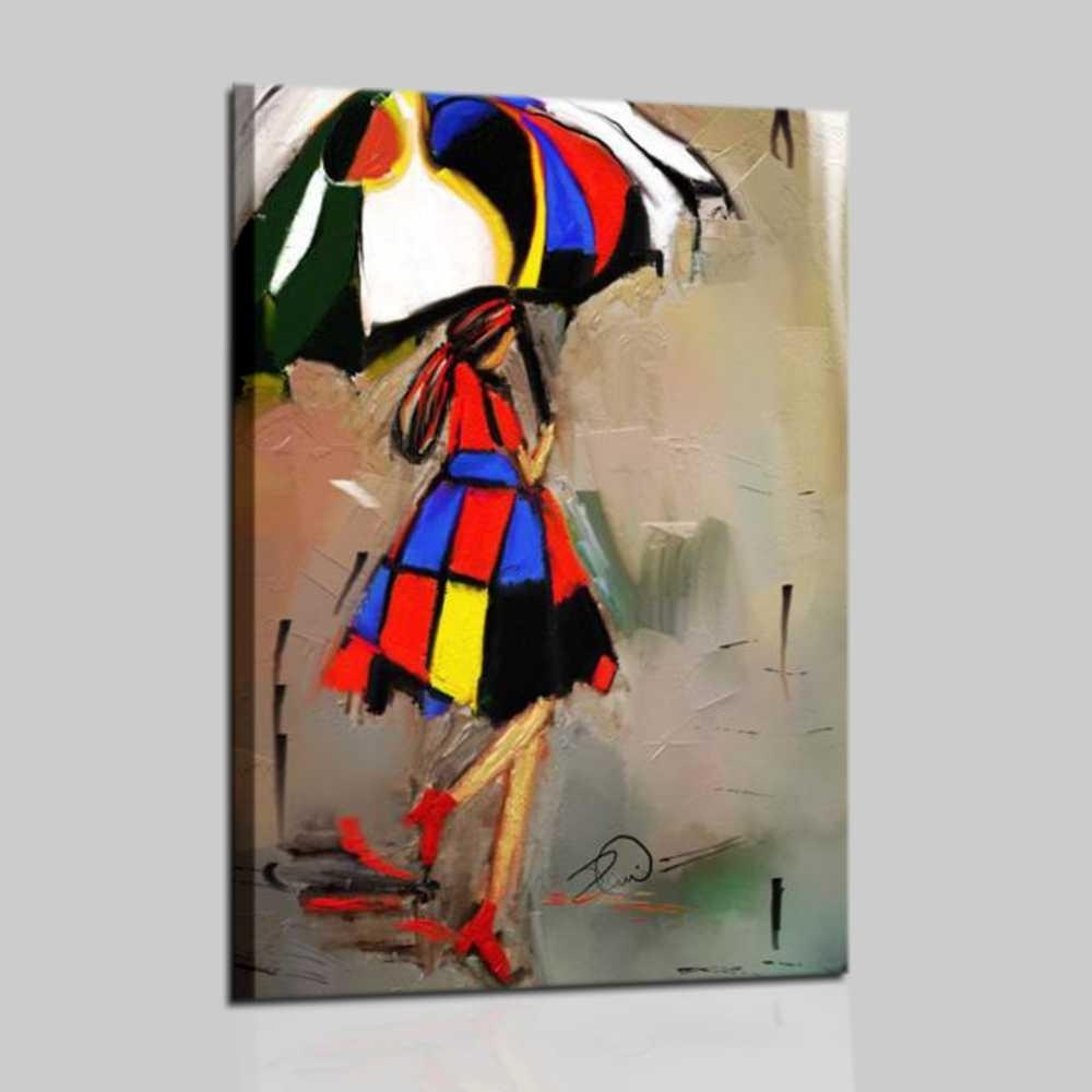 Modern painting woman with umbrella