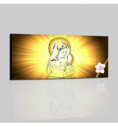 Quadro religioso dipinto a mano Madonna con bambino Amor