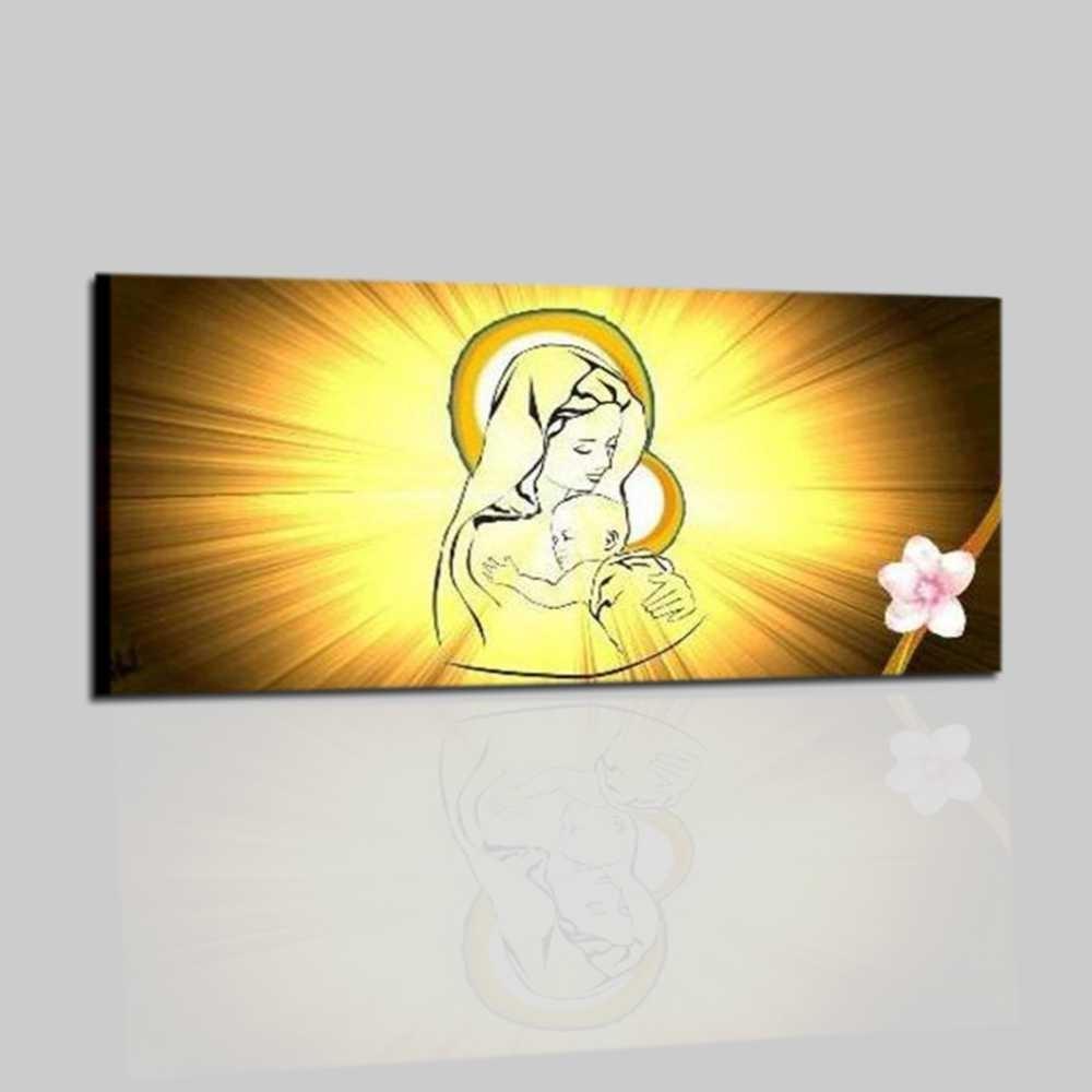 Quadro religioso dipinto a mano madonna con bambino amor - Quadro per camera da letto ...