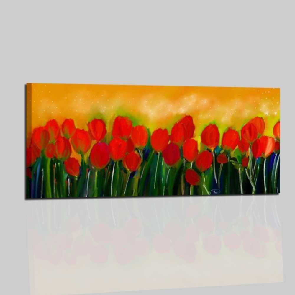 Quadri moderni dipinti a mano con fiori tulipani for Immagini di quadri con fiori