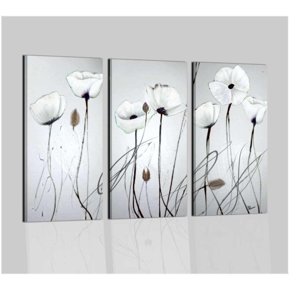 Quadri moderni astratti dipinti a mano su tela bianco nero for Quadri astratti moderni verticali