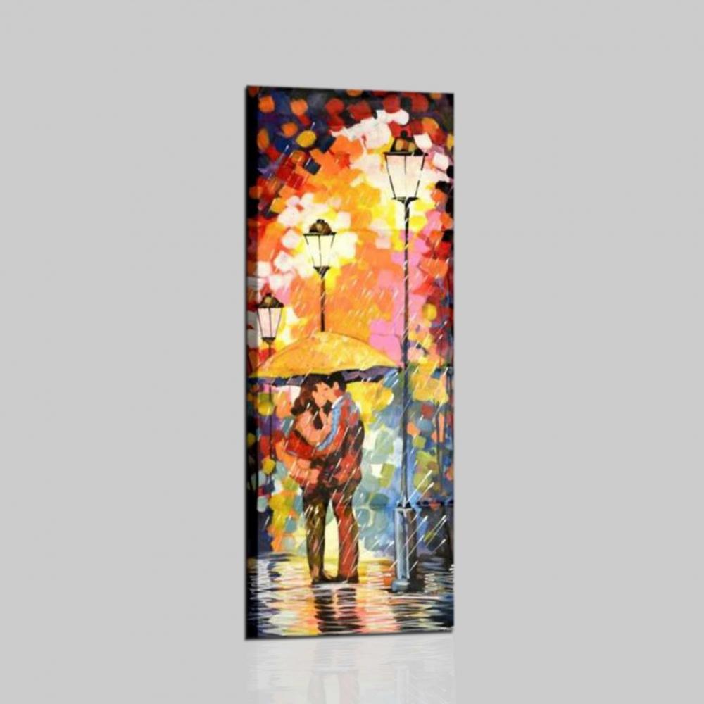 Rain 2 cuadro moderno pareja bajo la lluvia i colori del caribe - Cuadros verticales modernos ...